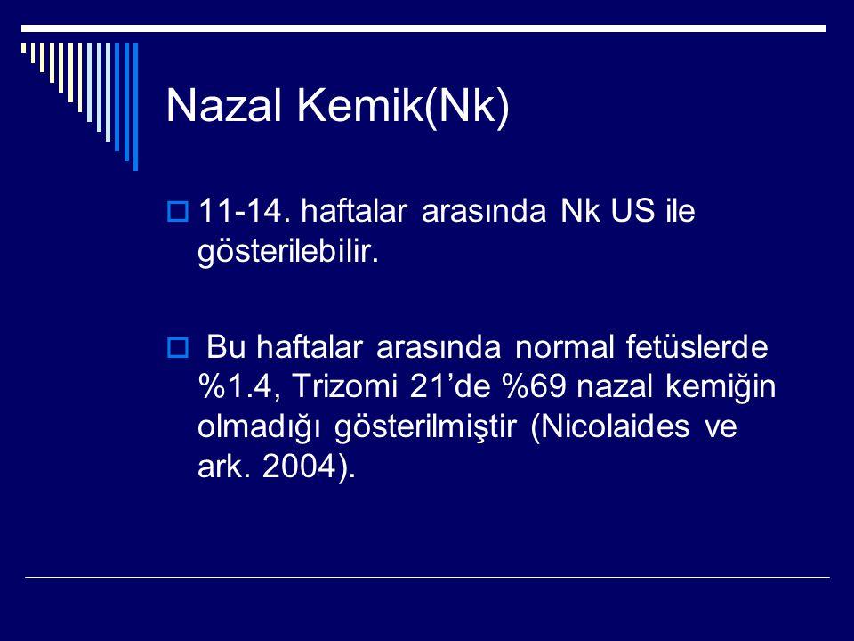 Nazal Kemik(Nk) 11-14. haftalar arasında Nk US ile gösterilebilir.