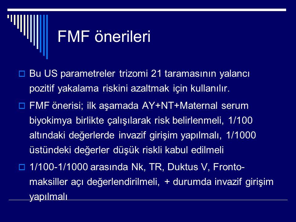 FMF önerileri Bu US parametreler trizomi 21 taramasının yalancı pozitif yakalama riskini azaltmak için kullanılır.