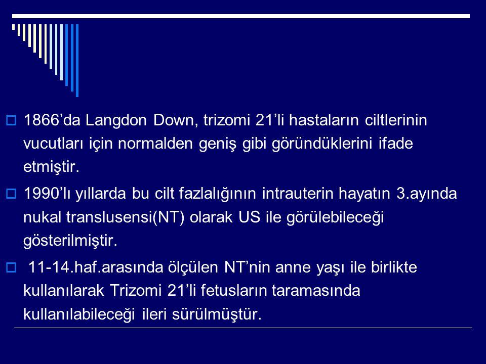 1866'da Langdon Down, trizomi 21'li hastaların ciltlerinin vucutları için normalden geniş gibi göründüklerini ifade etmiştir.
