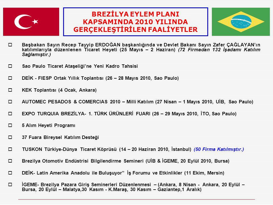 BREZİLYA EYLEM PLANI KAPSAMINDA 2010 YILINDA GERÇEKLEŞTİRİLEN FAALİYETLER