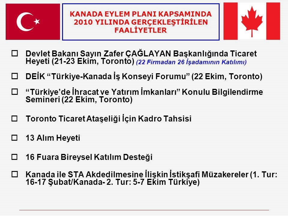 DEİK Türkiye-Kanada İş Konseyi Forumu (22 Ekim, Toronto)