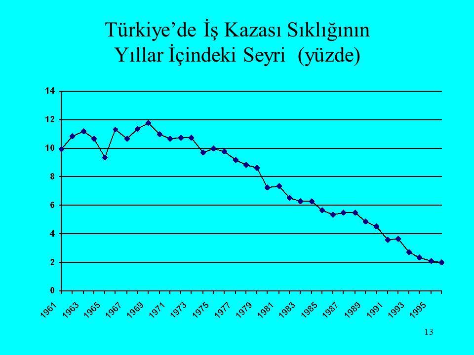 Türkiye'de İş Kazası Sıklığının Yıllar İçindeki Seyri (yüzde)