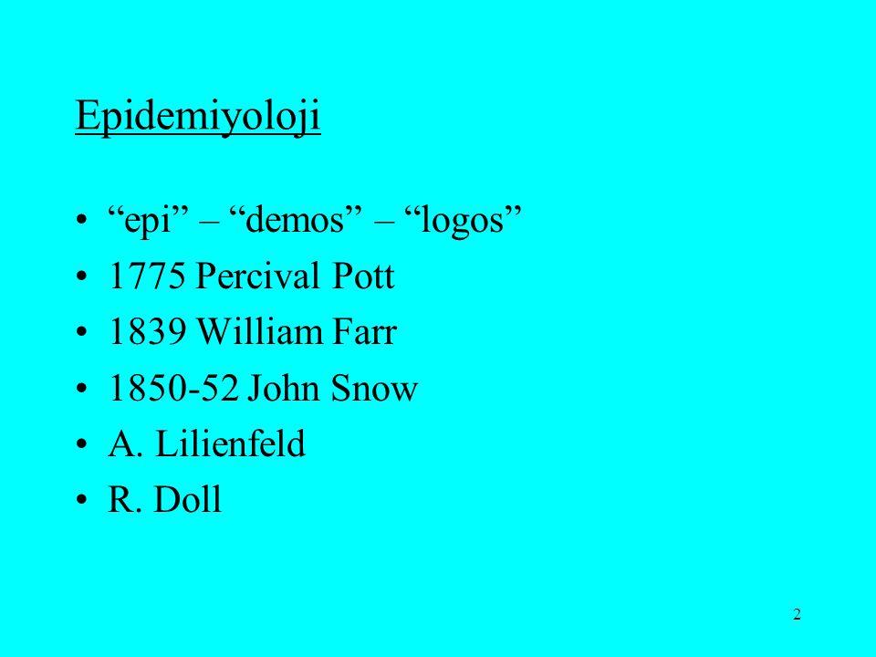 Epidemiyoloji epi – demos – logos 1775 Percival Pott