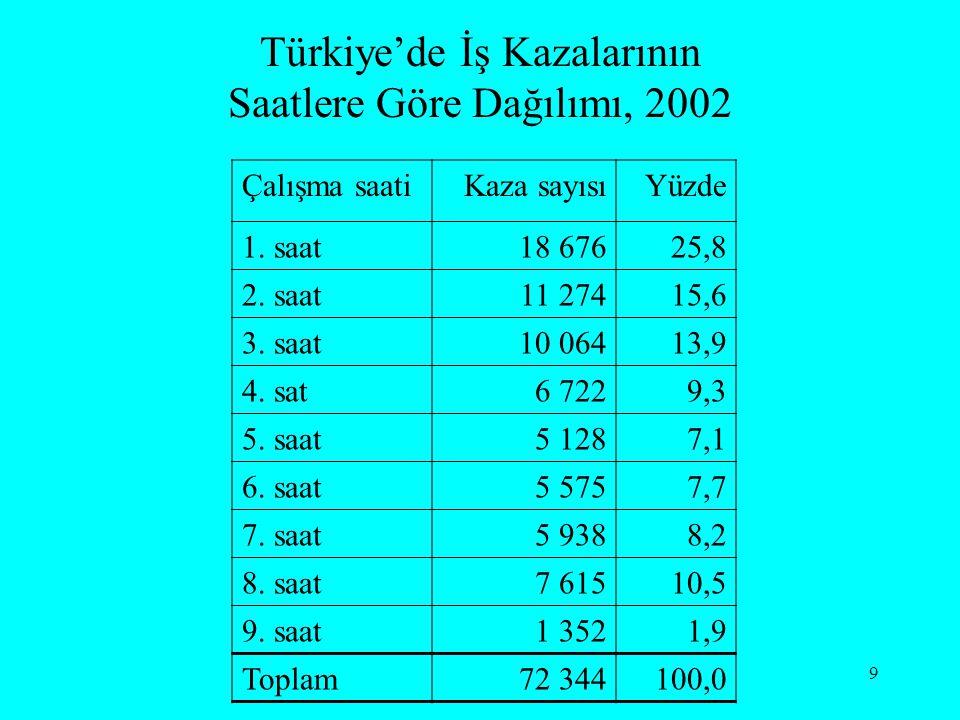 Türkiye'de İş Kazalarının Saatlere Göre Dağılımı, 2002