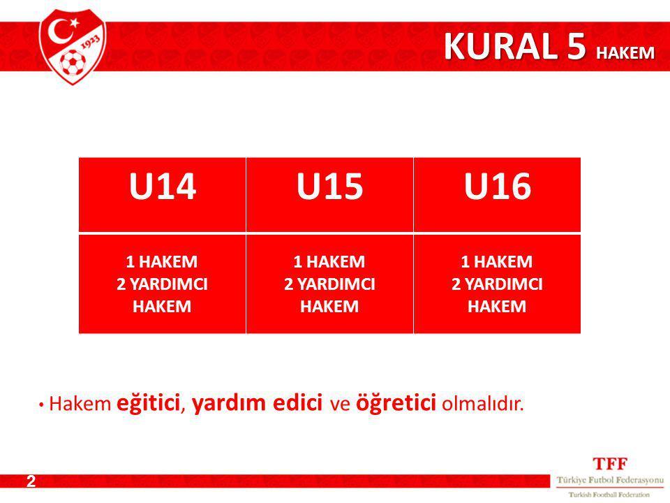 KURAL 5 HAKEM U14 U15 U16 1 HAKEM 2 YARDIMCI HAKEM