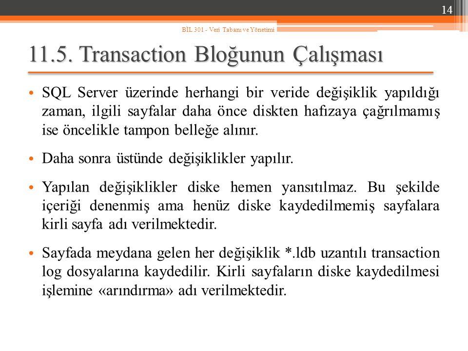 11.5. Transaction Bloğunun Çalışması