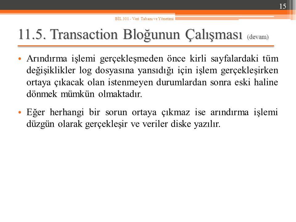 11.5. Transaction Bloğunun Çalışması (devam)