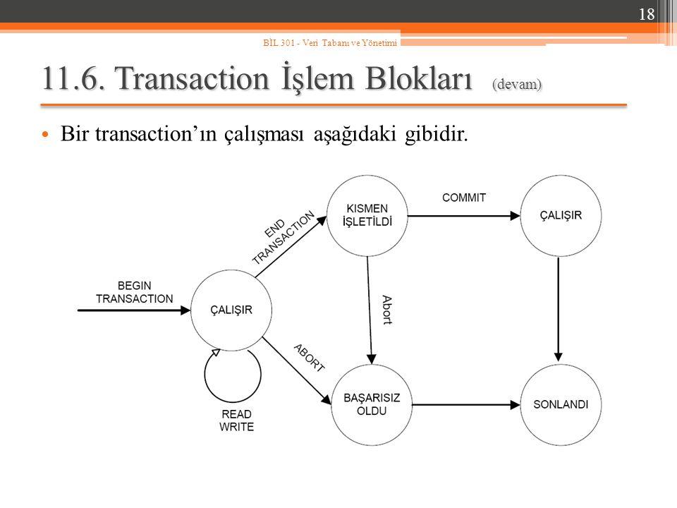 11.6. Transaction İşlem Blokları (devam)