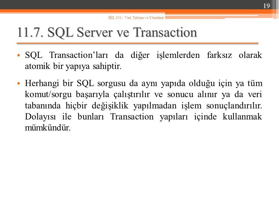 11.7. SQL Server ve Transaction