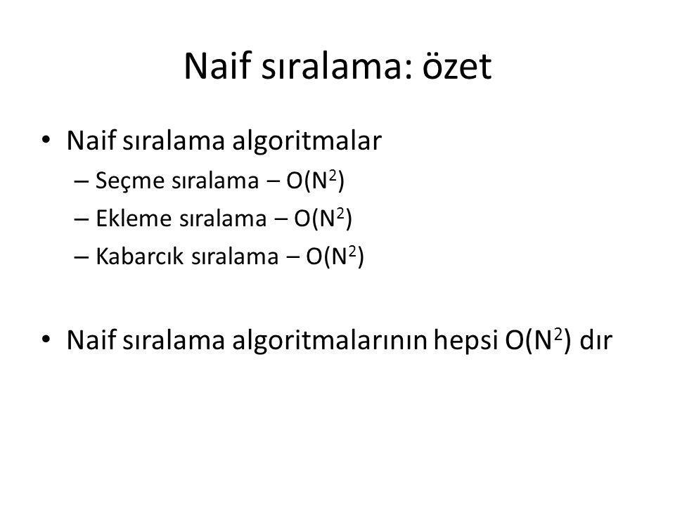 Naif sıralama: özet Naif sıralama algoritmalar