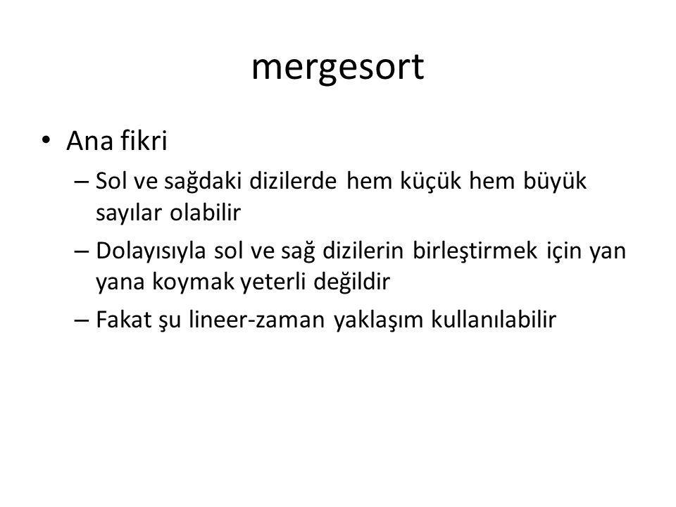 mergesort Ana fikri. Sol ve sağdaki dizilerde hem küçük hem büyük sayılar olabilir.