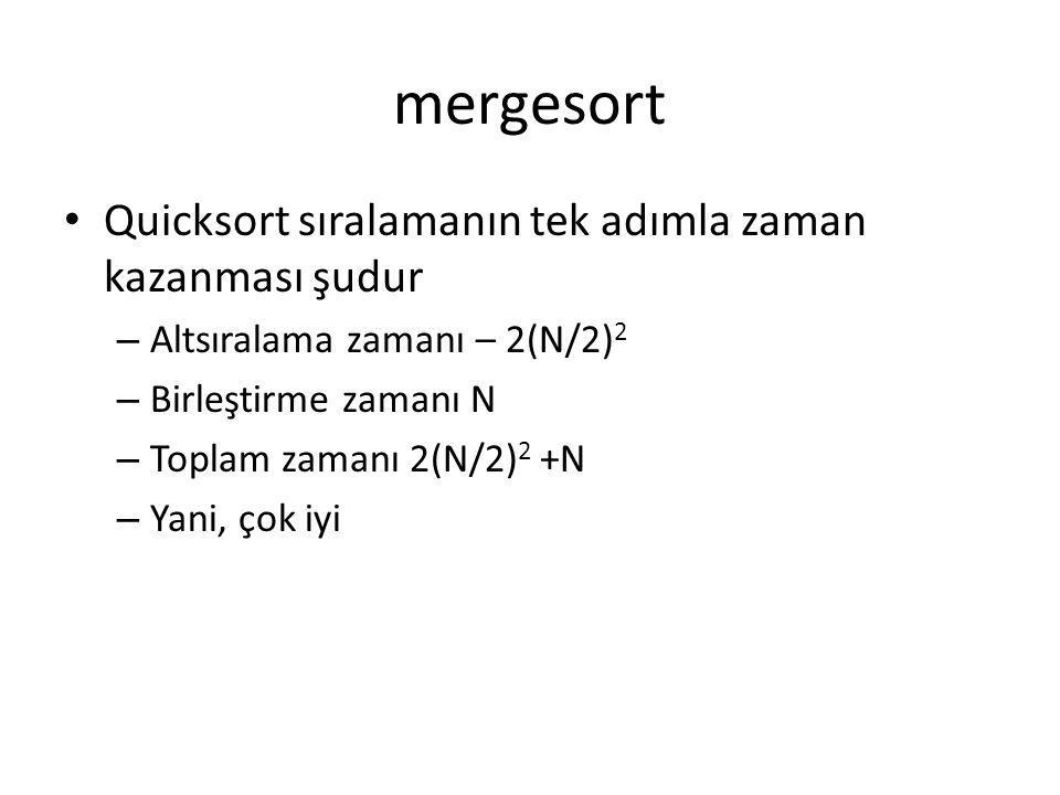 mergesort Quicksort sıralamanın tek adımla zaman kazanması şudur