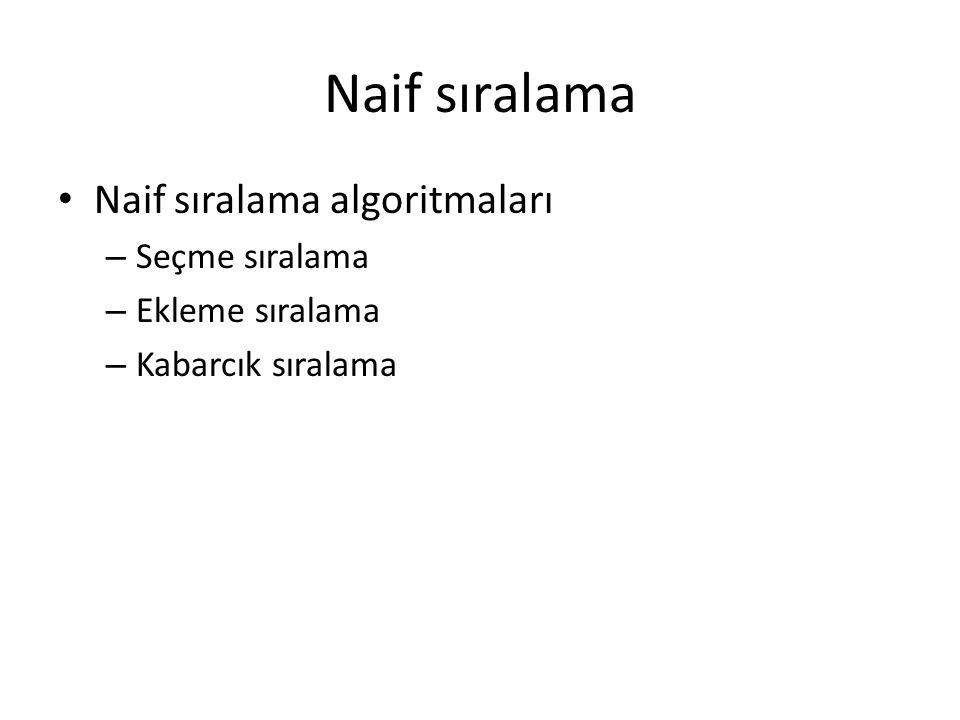 Naif sıralama Naif sıralama algoritmaları Seçme sıralama
