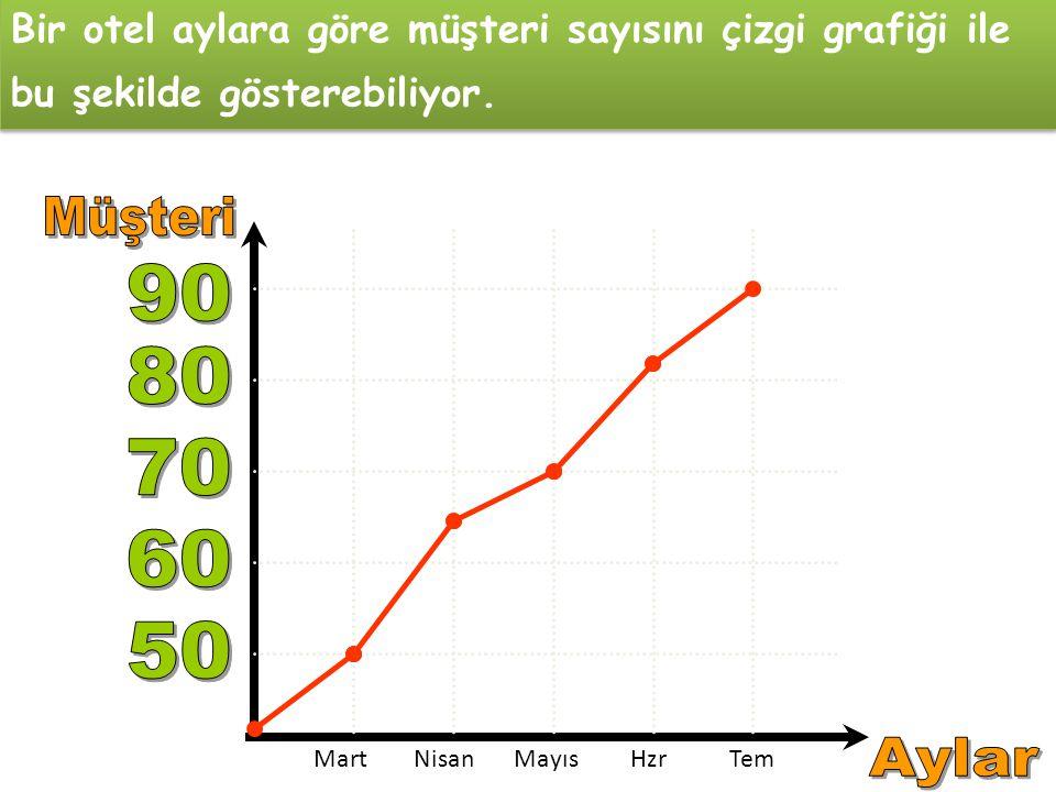 Bir otel aylara göre müşteri sayısını çizgi grafiği ile