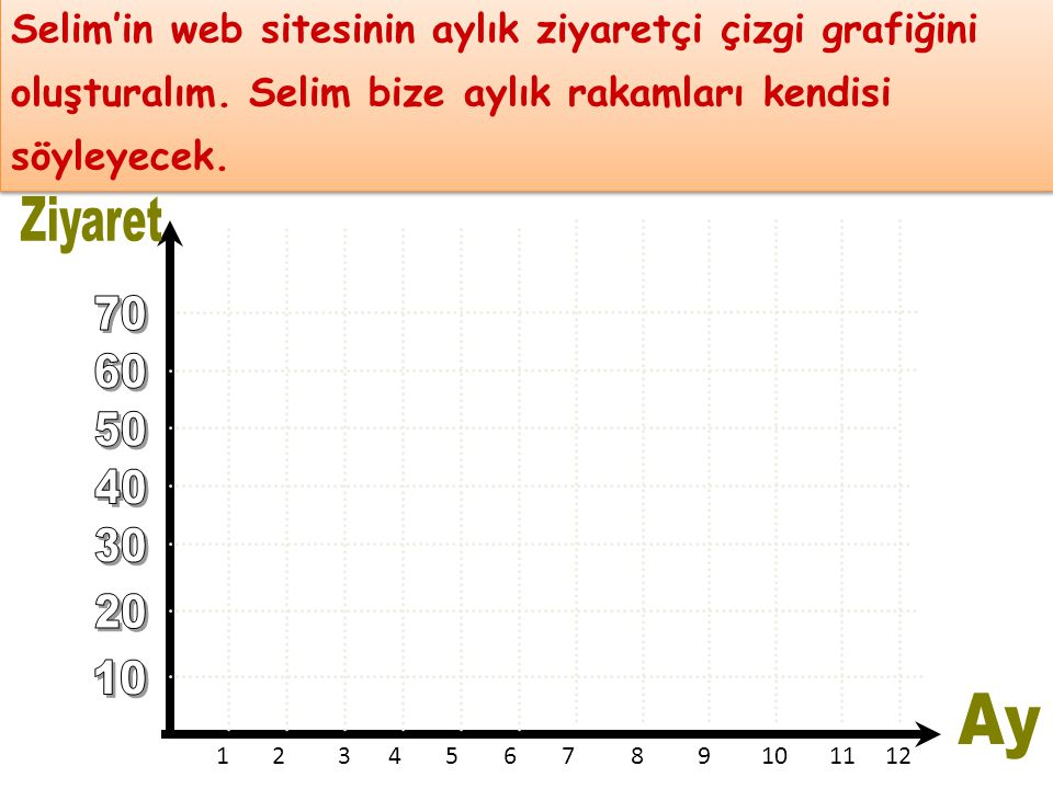Selim'in web sitesinin aylık ziyaretçi çizgi grafiğini oluşturalım