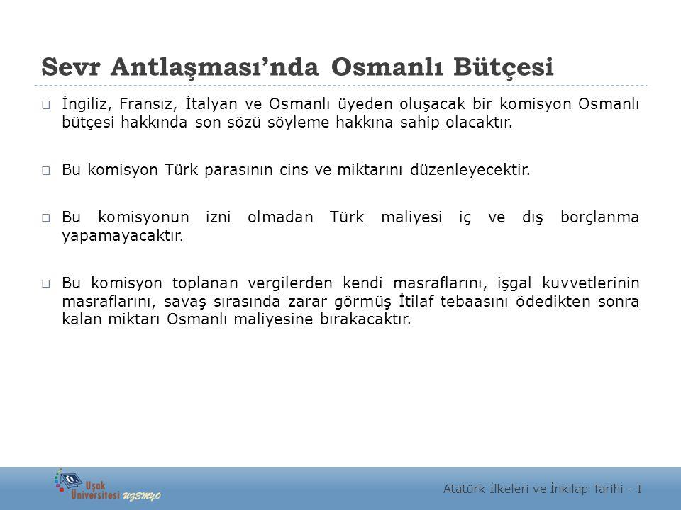 Sevr Antlaşması'nda Osmanlı Bütçesi