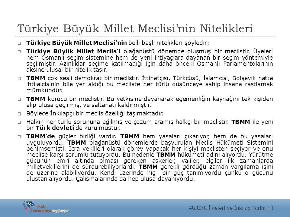 Türkiye Büyük Millet Meclisi'nin Nitelikleri