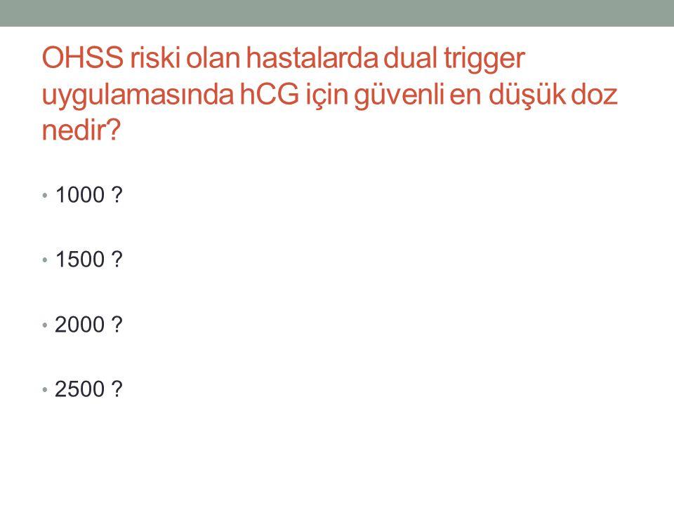 OHSS riski olan hastalarda dual trigger uygulamasında hCG için güvenli en düşük doz nedir
