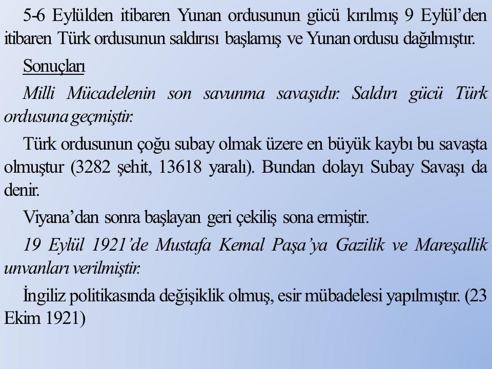 5-6 Eylülden itibaren Yunan ordusunun gücü kırılmış 9 Eylül'den itibaren Türk ordusunun saldırısı başlamış ve Yunan ordusu dağılmıştır.