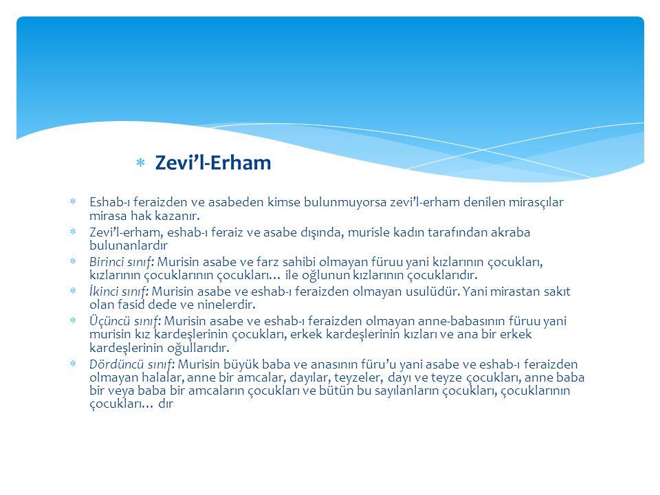 Zevi'l-Erham Eshab-ı feraizden ve asabeden kimse bulunmuyorsa zevi'l-erham denilen mirasçılar mirasa hak kazanır.