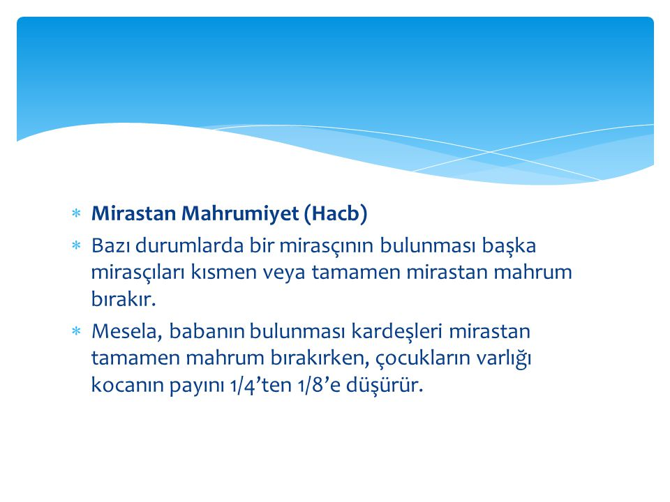 Mirastan Mahrumiyet (Hacb)