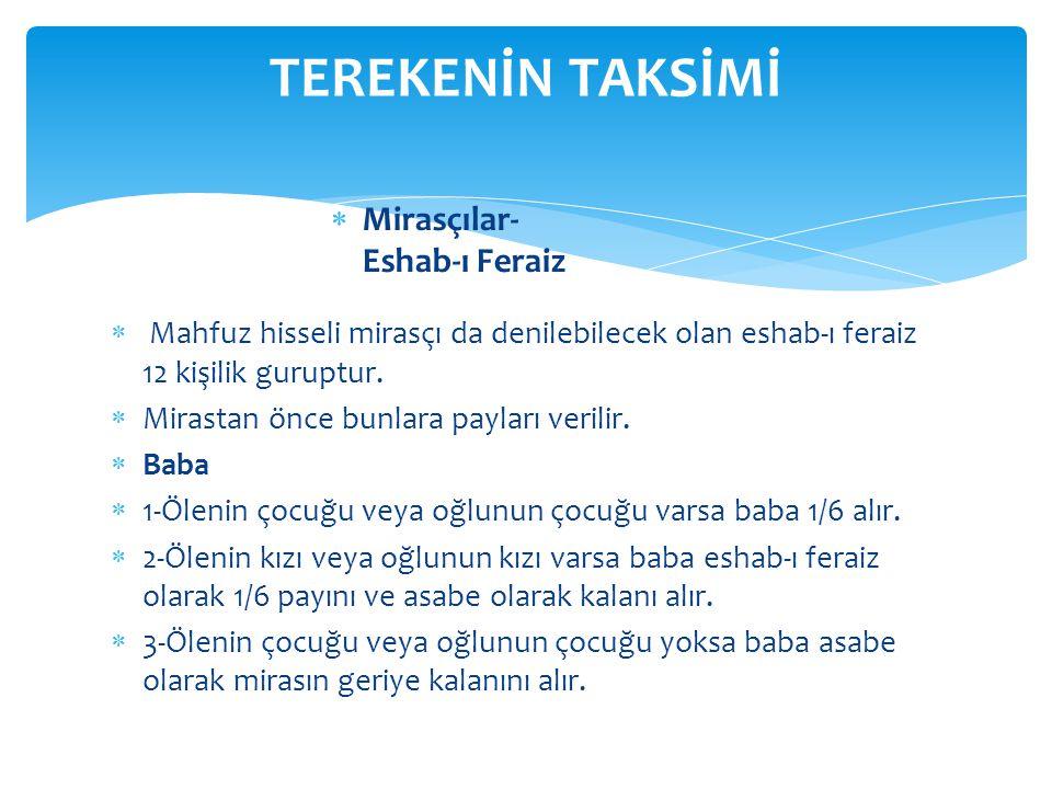 TEREKENİN TAKSİMİ Mirasçılar- Eshab-ı Feraiz