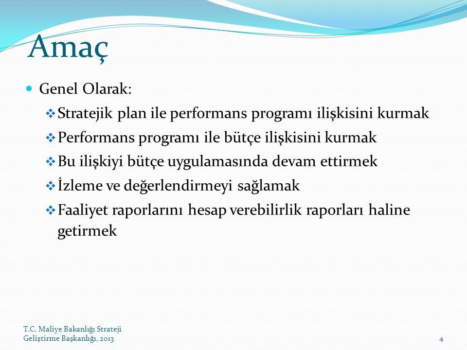 Amaç Genel Olarak: Stratejik plan ile performans programı ilişkisini kurmak. Performans programı ile bütçe ilişkisini kurmak.