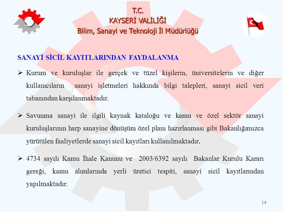 SANAYİ SİCİL KAYITLARINDAN FAYDALANMA