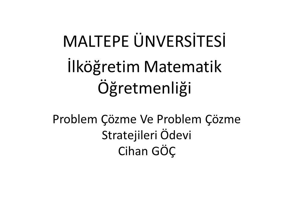 Problem Çözme Ve Problem Çözme Stratejileri Ödevi Cihan GÖÇ