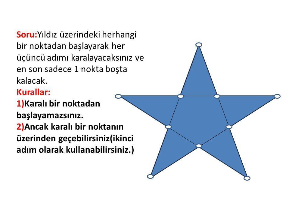 Soru:Yıldız üzerindeki herhangi bir noktadan başlayarak her üçüncü adımı karalayacaksınız ve en son sadece 1 nokta boşta kalacak.