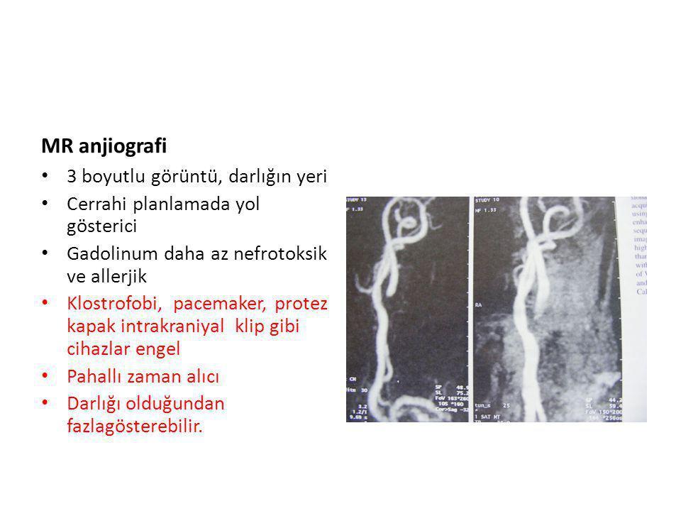 MR anjiografi 3 boyutlu görüntü, darlığın yeri