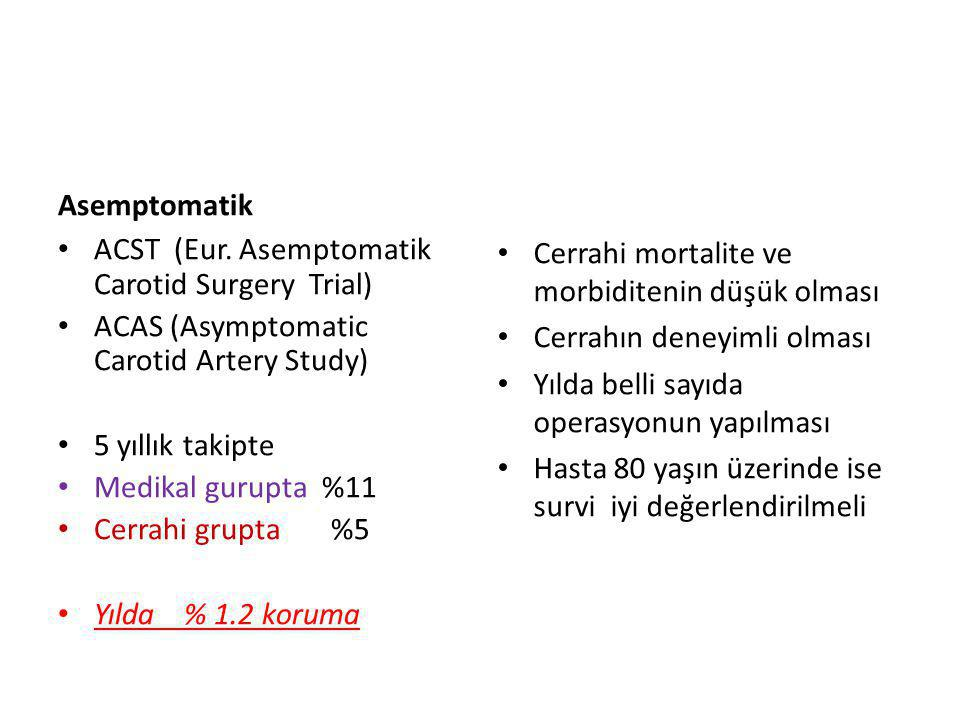 Asemptomatik ACST (Eur. Asemptomatik Carotid Surgery Trial) ACAS (Asymptomatic Carotid Artery Study)