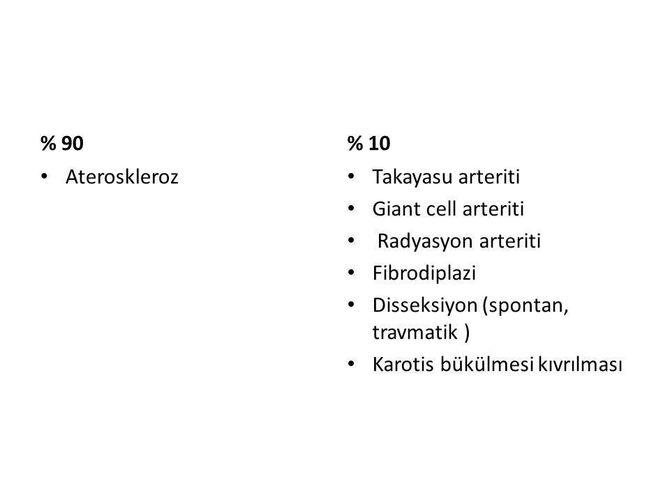 % 90 % 10. Ateroskleroz. Takayasu arteriti. Giant cell arteriti. Radyasyon arteriti. Fibrodiplazi.