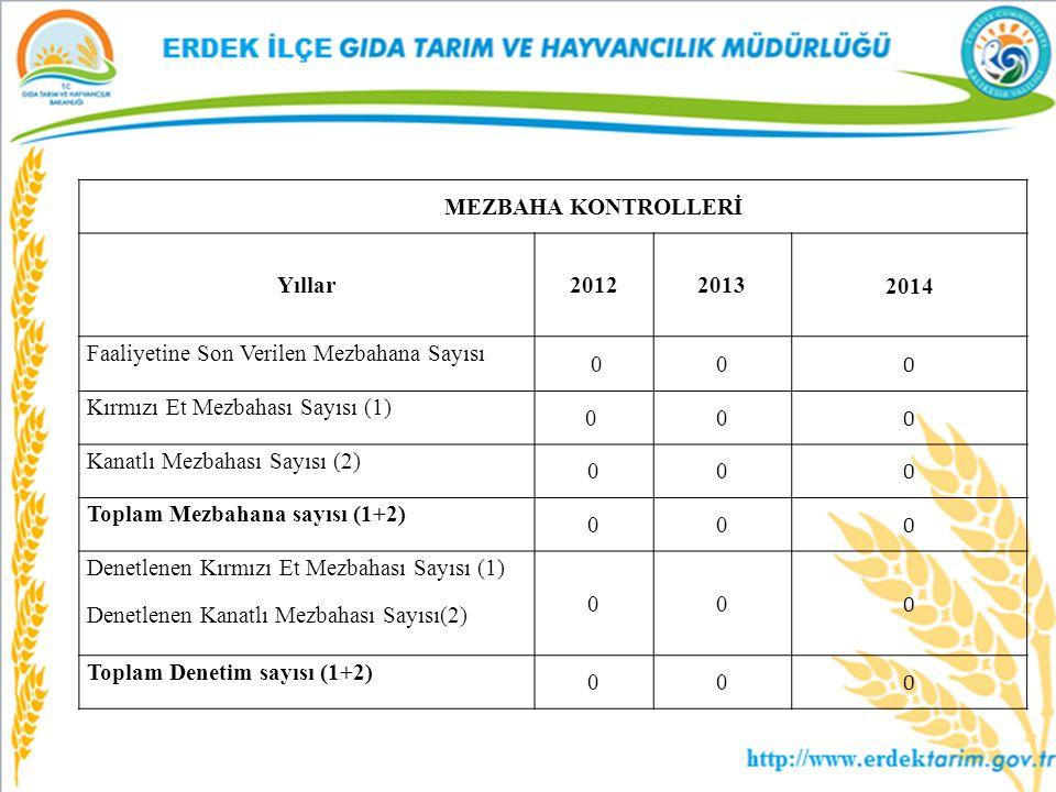 MEZBAHA KONTROLLERİ Yıllar. 2012. 2013. 2014. Faaliyetine Son Verilen Mezbahana Sayısı. 0. Kırmızı Et Mezbahası Sayısı (1)
