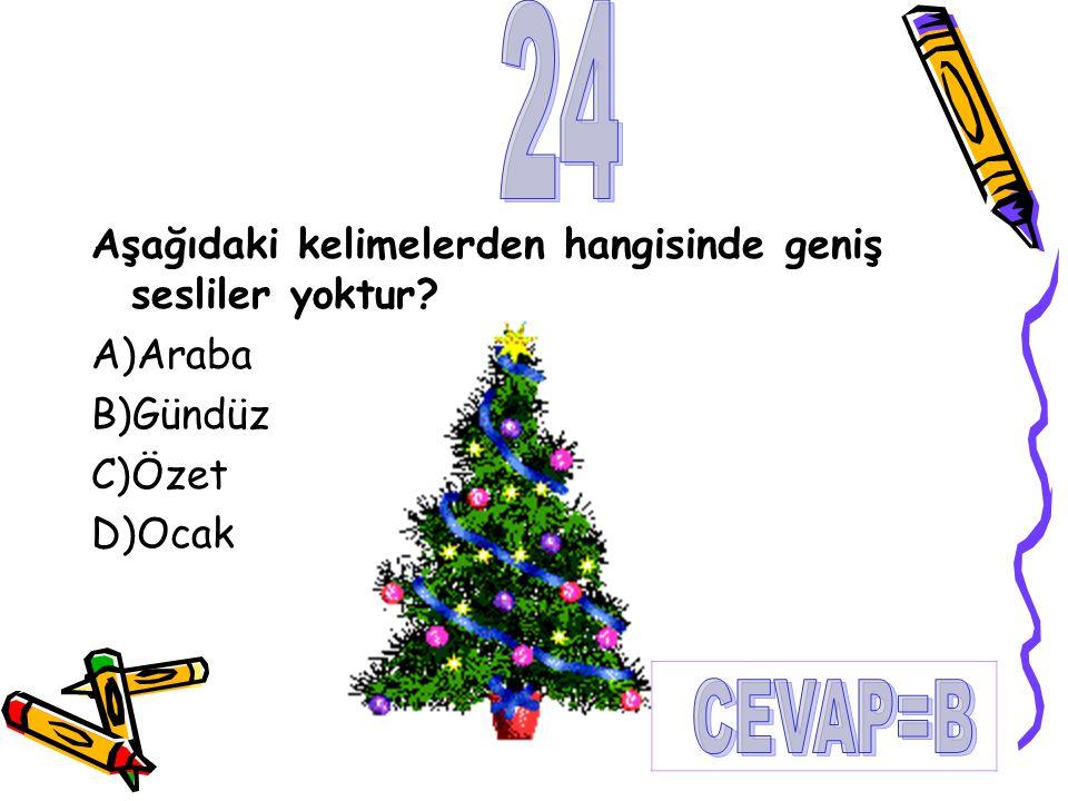 24 CEVAP=B Aşağıdaki kelimelerden hangisinde geniş sesliler yoktur