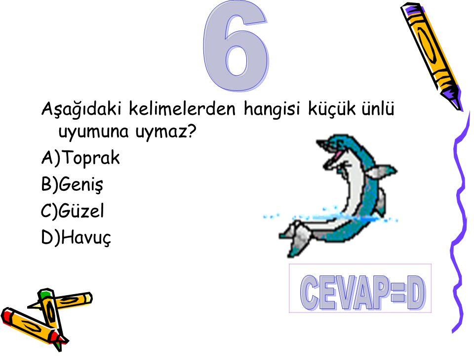 6 CEVAP=D Aşağıdaki kelimelerden hangisi küçük ünlü uyumuna uymaz