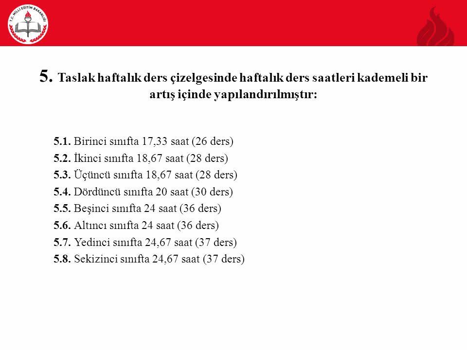 5. Taslak haftalık ders çizelgesinde haftalık ders saatleri kademeli bir artış içinde yapılandırılmıştır: