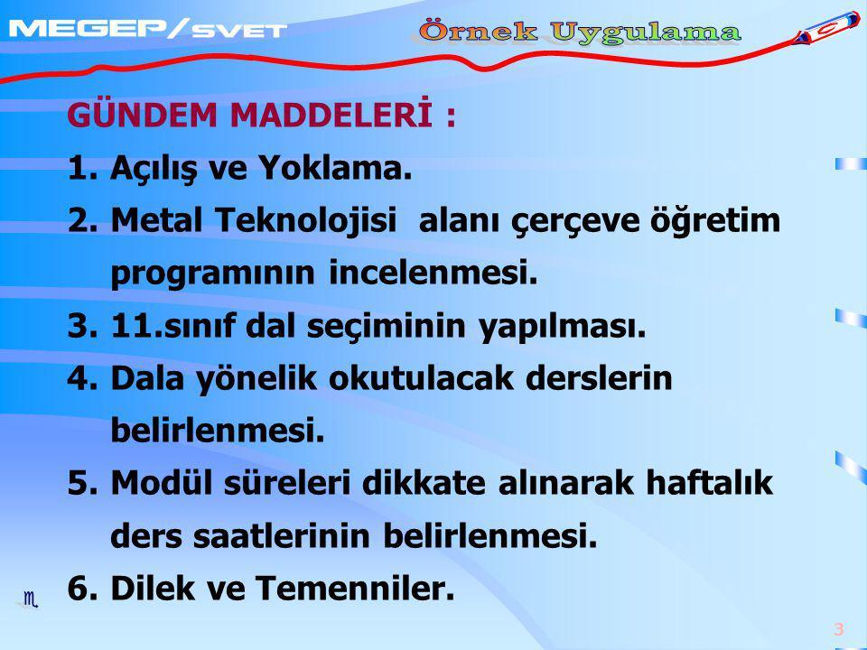 GÜNDEM MADDELERİ : Açılış ve Yoklama. Metal Teknolojisi alanı çerçeve öğretim programının incelenmesi.