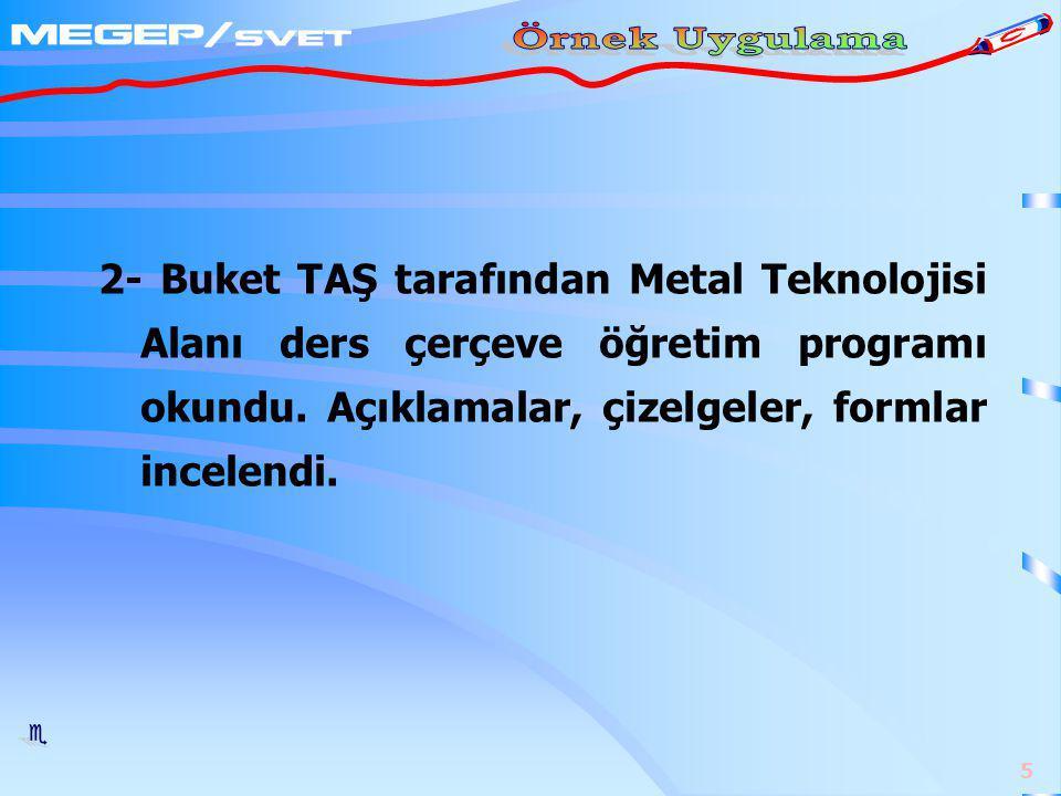 2- Buket TAŞ tarafından Metal Teknolojisi Alanı ders çerçeve öğretim programı okundu.