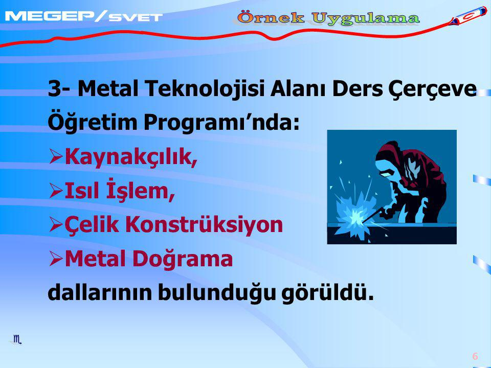 3- Metal Teknolojisi Alanı Ders Çerçeve Öğretim Programı'nda: