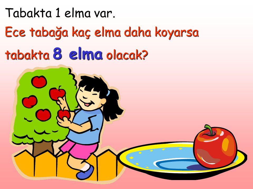 Tabakta 1 elma var. Ece tabağa kaç elma daha koyarsa tabakta 8 elma olacak