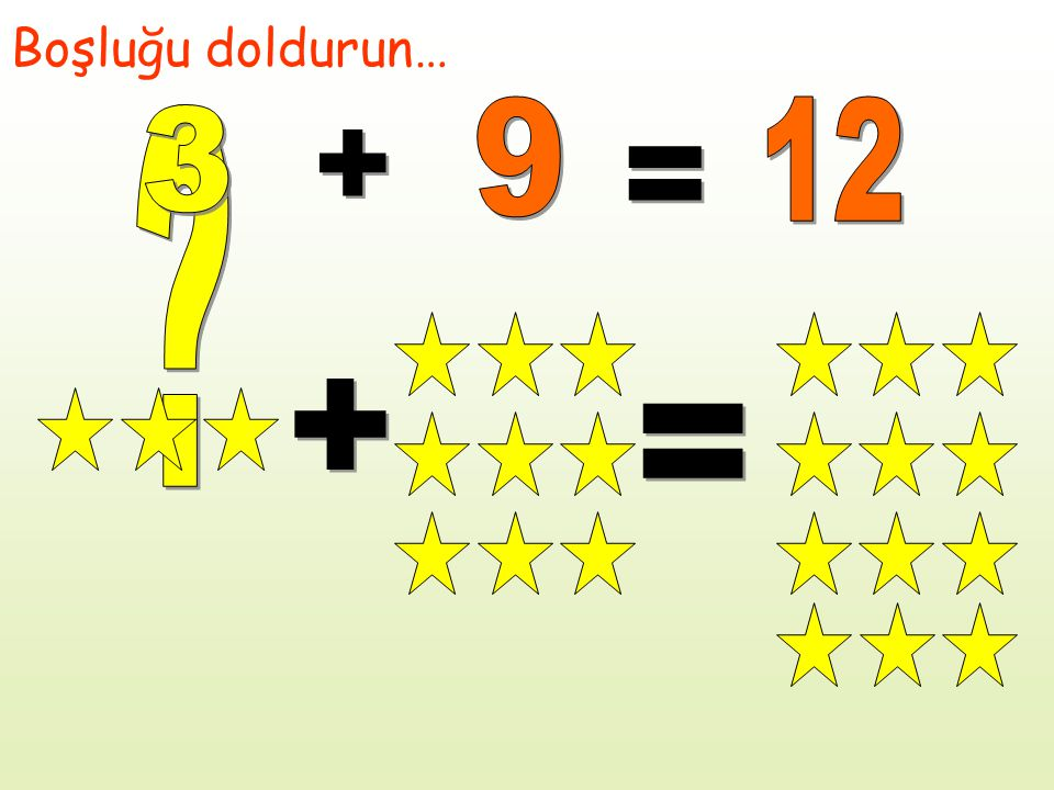 Boşluğu doldurun… 9 12 3 + = + =