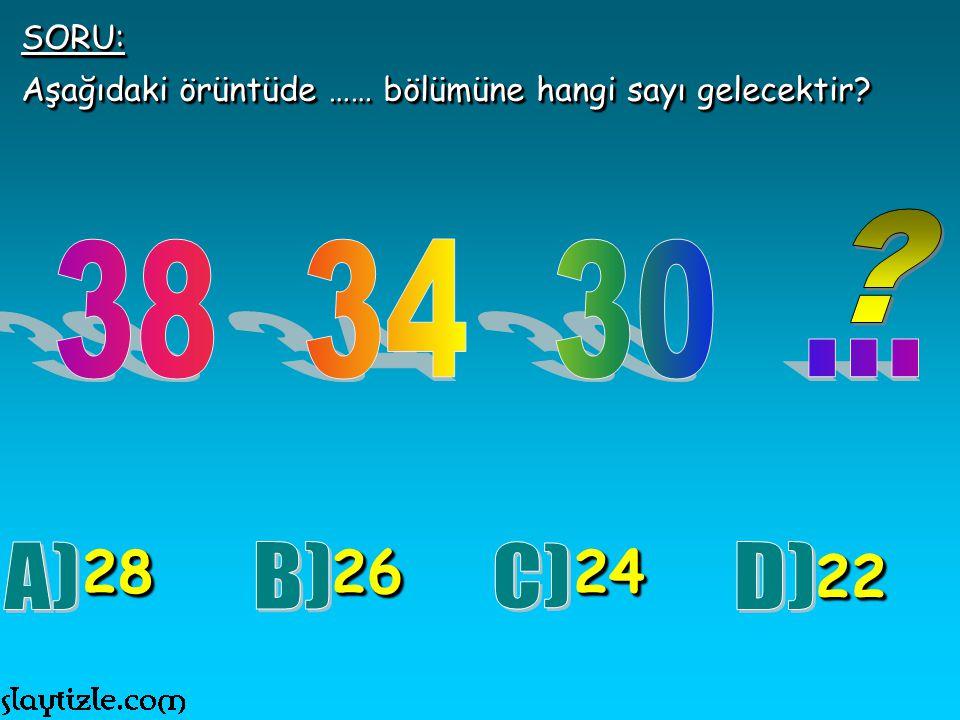 SORU: Aşağıdaki örüntüde …… bölümüne hangi sayı gelecektir 38 34 30 ... 28. 26. 24. 22.