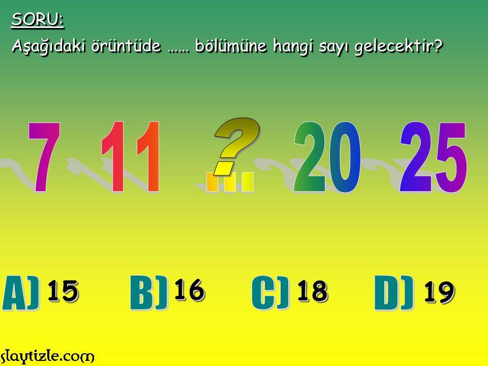 SORU: Aşağıdaki örüntüde …… bölümüne hangi sayı gelecektir 7 11 ... 20 25. 15. 16. 18. 19.