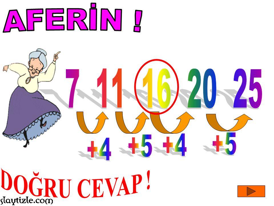 AFERİN ! 7 11 16 20 25 +5 +5 +4 +4 DOĞRU CEVAP !