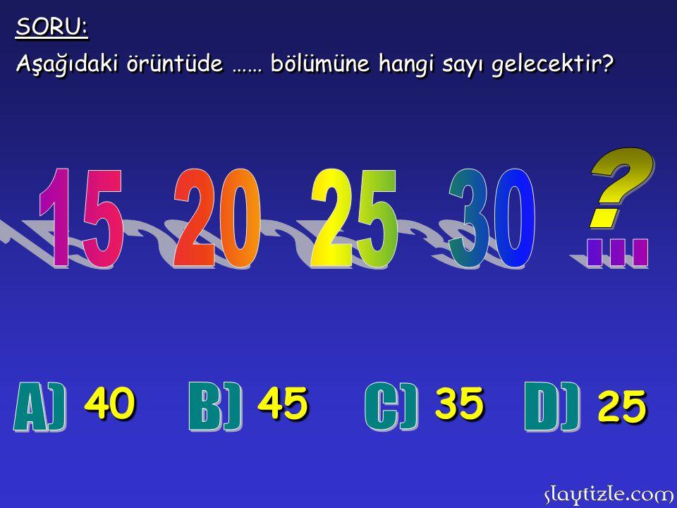 SORU: Aşağıdaki örüntüde …… bölümüne hangi sayı gelecektir 15 20 25 30 ... 40. 45. 35. 25.