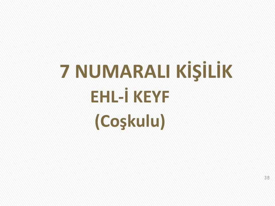 7 NUMARALI KİŞİLİK EHL-İ KEYF (Coşkulu)
