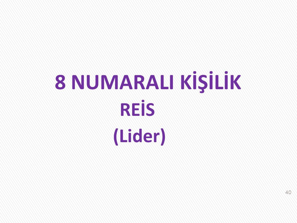 8 NUMARALI KİŞİLİK REİS (Lider)