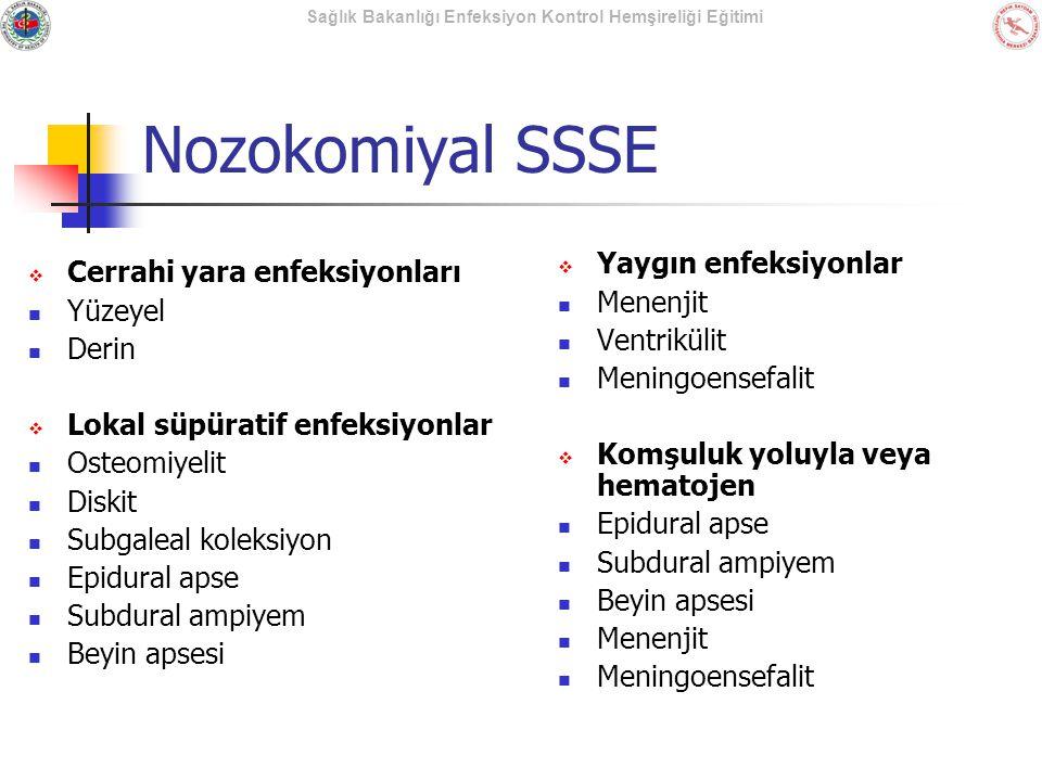 Nozokomiyal SSSE Yaygın enfeksiyonlar Cerrahi yara enfeksiyonları