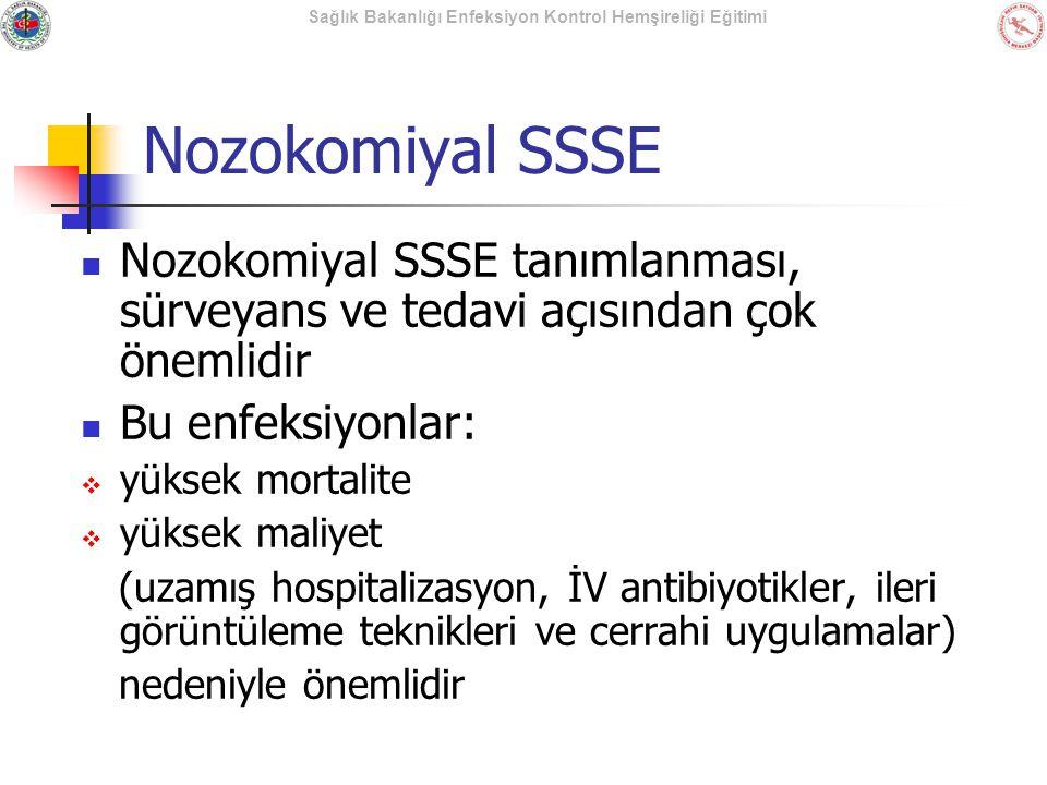 Nozokomiyal SSSE Nozokomiyal SSSE tanımlanması, sürveyans ve tedavi açısından çok önemlidir. Bu enfeksiyonlar: